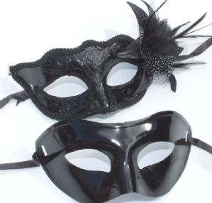 His and Hers Midnight Black Mask - Mask on a Stick | Masks and Tiaras